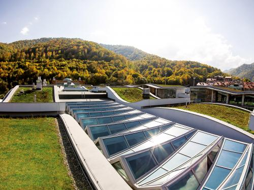 Extensive green roofs with glass roof areas