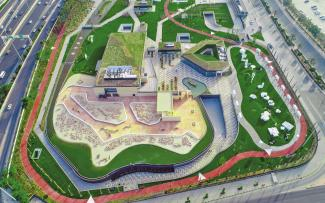 Bird's eye view of the Al Shaheed Park